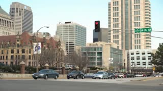 St Louis downtown city streets to buildings establishing shot 4k