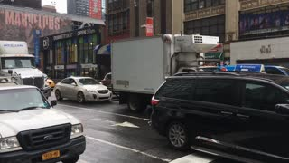Stopped traffic in downtown New York on rainy day