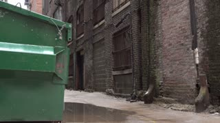 Street alley with bars on apartment windows 4k