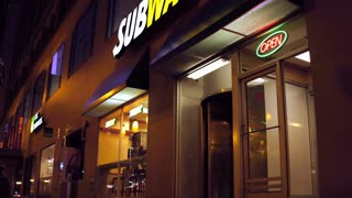 Subway Sandwich shop in downtown city of Chicago 4k
