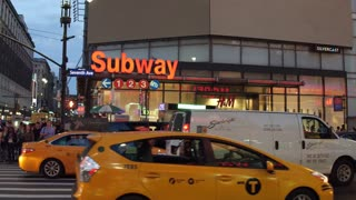 Subway Station on Seventh Avenue New York City at night 4k