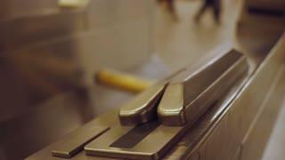 Swiping ticket thru subway turnstile 4k