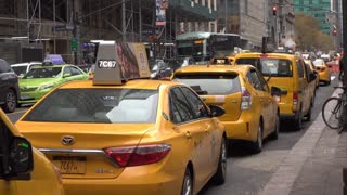 Taxi cars parked out side of Grand Central Terminal in NYC 4k