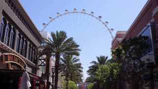 The LINQ hotel and casino outdoor shopping area with High Roller 4k