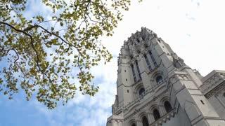 The Riverside Church Gothic cathedral entrance establishing shot 4k