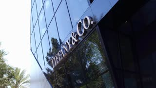 Tiffany and Co store front in downtown Las Vegas 4k