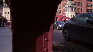Traffic crossing drawbridge in Chicago downtown 4k