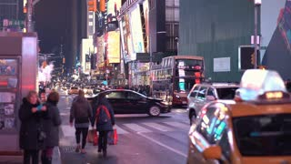 Traffic in busy Times Square area of downtown New York 4k