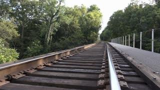 Train bridge going through forest 4k