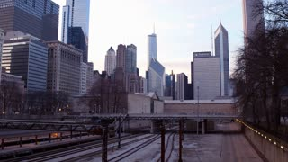 Train station downtown with city building in background Chicago 4k