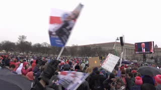 Trump flags waiving while he speaks at Inauguration 2017 4k