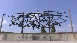 Twisted memorial structure at Dachau concentration camp 4k