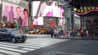 Typical New York street corner with flashing lights 4k