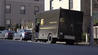 UPS delivery truck in hills of San Francisco neighborhood 4k