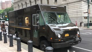 UPS truck making a delivery in downtown NYC