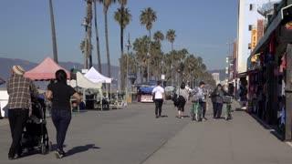 Venice Beach walkway during morning hours 4k