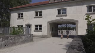 Visitors at Dachau Concentration camp in Munich Germany 4k