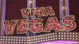Viva Vegas sign on store in Fremont Street Las Vegas 4k
