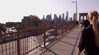 Walking intro towards New York City and Brooklyn Bridge