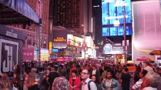 Walking with crowd of people in downtown Times Square 4k