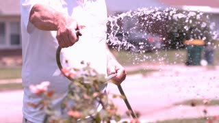 Watering flowers in yard with garden hose slow motion