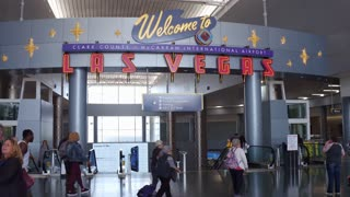 Welcome to Las Vegas sign at airport 4k