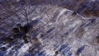 Winter forest scene with stream aerial view 4k