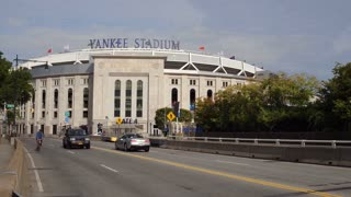 Yankee Stadium field exterior in downtown Bronx NYC 4k