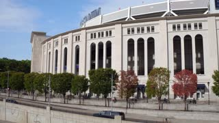Yankee Stadium field exterior pan establishing shot 4k