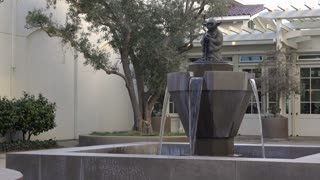 Yoda statue at water fountain in San Francisco 4k