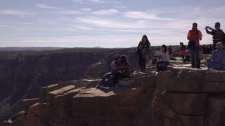 Visitors at West rim area of Grand Canyon edge 4k