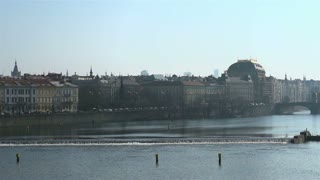 Vltava river going through city of Prague.