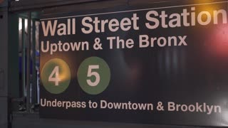 Wall Street Station subway station sign 4k