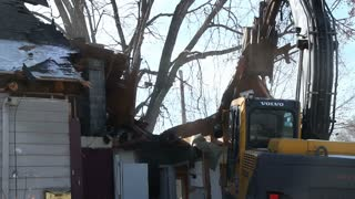 Walls of house ripped down by claw