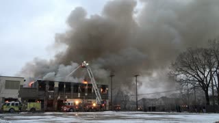 Warehouse on fire in Dayton Ohio wide angle view 4k