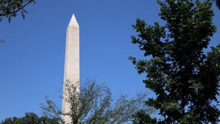 Washington Monument in Washington seen from park below 4k