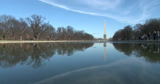 Washington Monument seen in reflection pond 4k