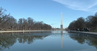 Washington Monument seen in reflection pool 4k
