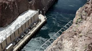 Water at the bottom of Hoover Dam