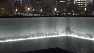 Water fall at September 11th Memorial in New York City 4k