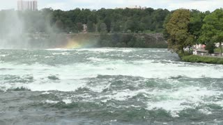 Water falling over edge of Niagara Falls