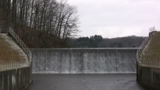 Water flowing Over Dam wide angle