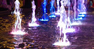 Water fountain lights at outdoor shopping 4k