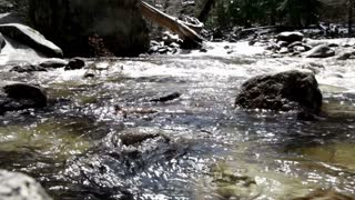 Water in creek flowing around rocks