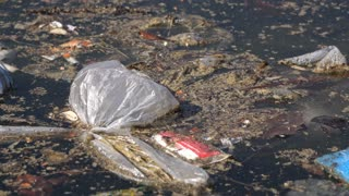 Water littered with trash and other pollutants 4k