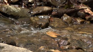 Water rushing through rocks in creek low view 4k
