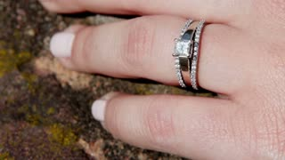 Wedding ring on female hand
