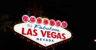 Welcome to Las Vegas sign at night 4k.