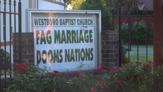 Westboro Baptist Church sign with their opinion on marriage 4k