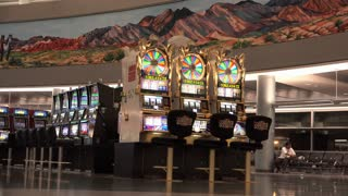 Wheel of Fortune slot machine at Las Vegas Airport 4k